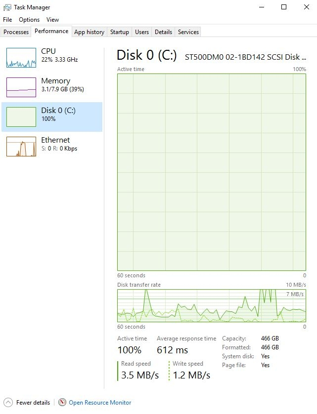 windows 10 disk 100 active time