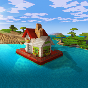Cute Little House on Water in Realmcraft Free Minecraft Style Game