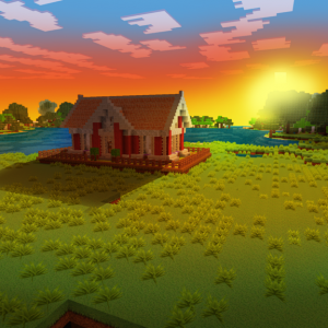 Beautiful Sunset From Your Cozy House! in Realmcraft Minecraft Clone